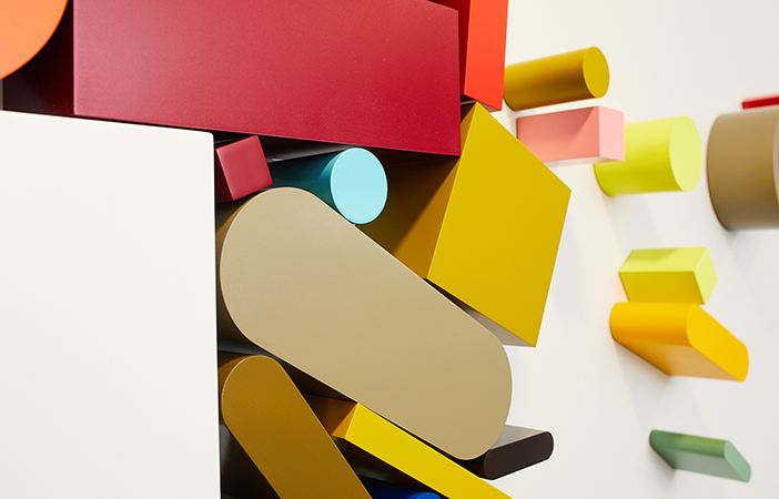 Aldworth James & Bond | Beats 1 Installation by Sophie Smallhorn | One of over 150 coloured 3D shapes fabricated by AJ&B