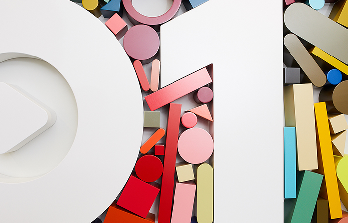 Aldworth James & Bond | Beats 1 Installation by Sophie Smallhorn | Coloured shapes digitally fabricated and finished by AJ&B