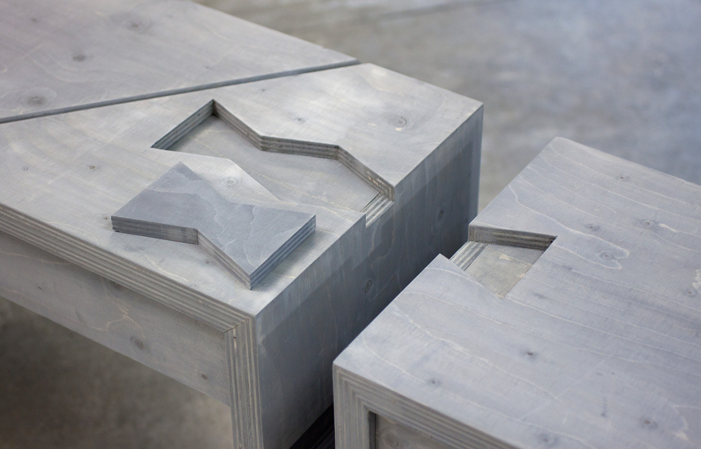 Aldworth James & Bond | Nesting Table for Build at LDF - butterfly joint detail