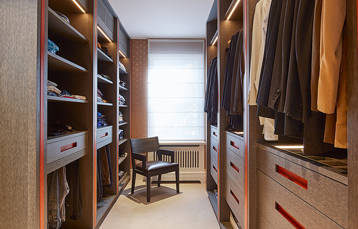Aldworth James & Bond | Chelsea Residence | Dressing room with blackened grey oak veneer throughout