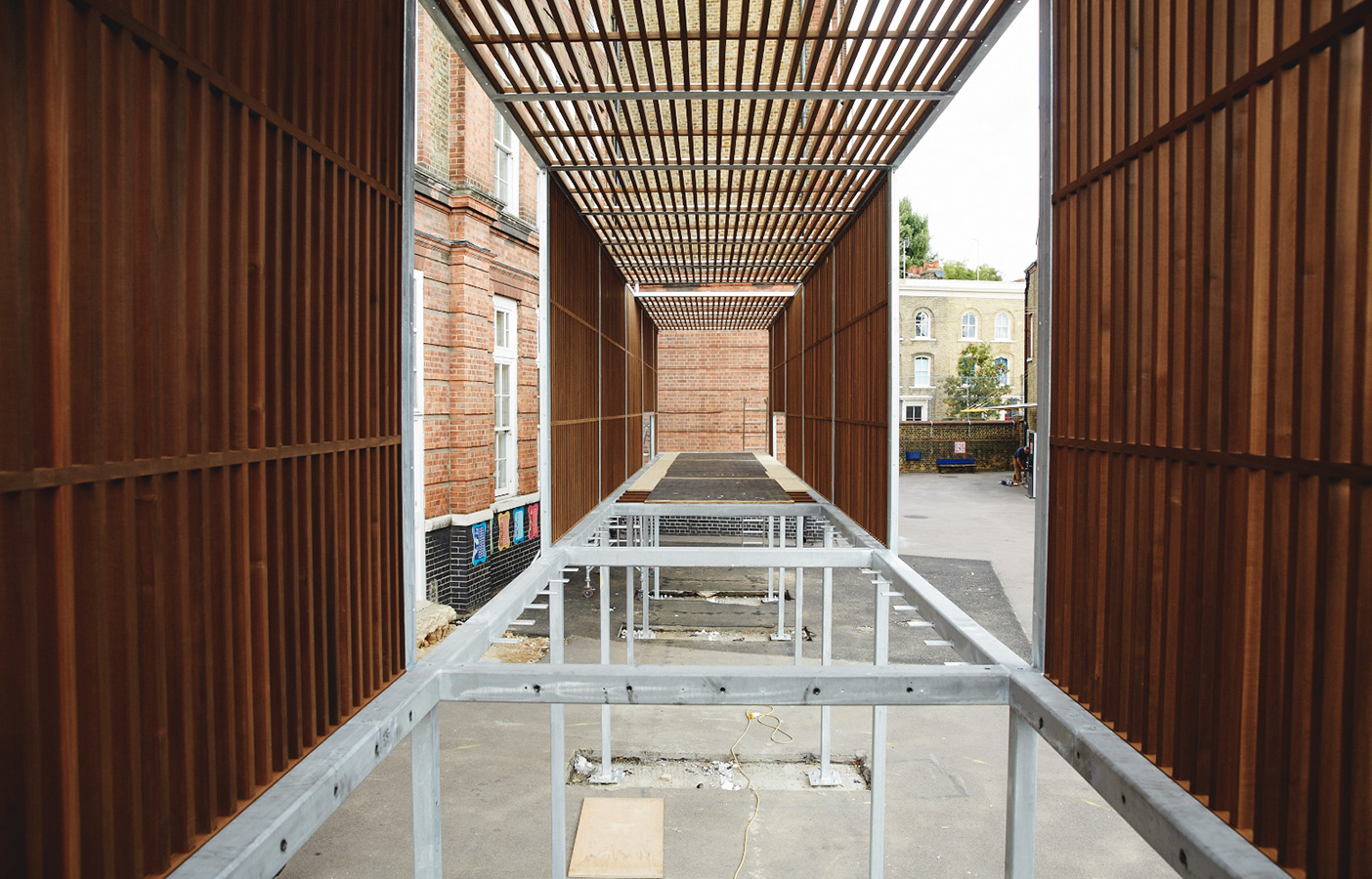 Aldworth James & Bond | The Chisenhale play structure mid-install