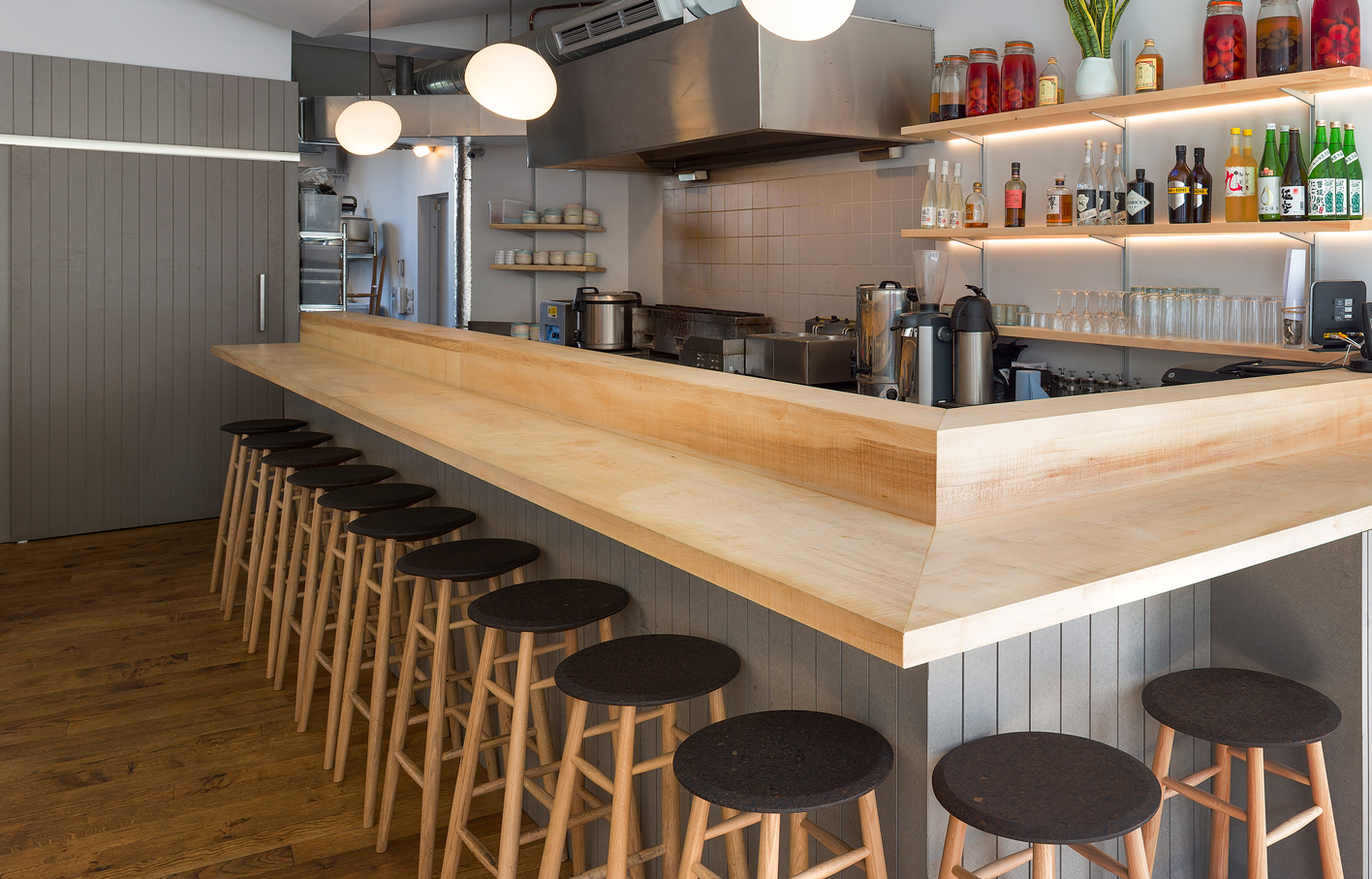 Aldworth James & Bond | Sycamore bar top for Japanese eatery Jidori in Dalston