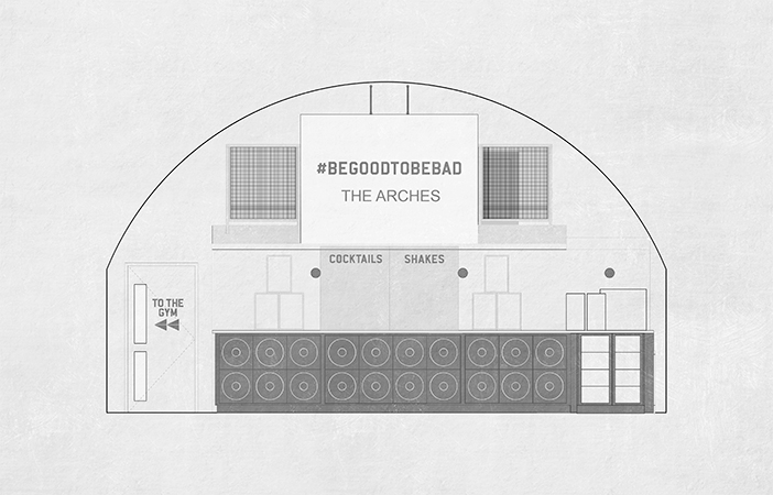 Aldworth James & Bond | Ministry of Sound The Arches bar section drawing