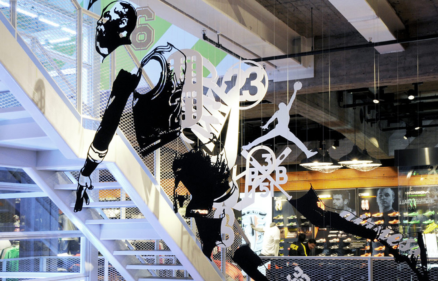 Aldworth James & Bond | Nike Store Berlin - Michael Murphy 'Broken' artwork suspended in-store