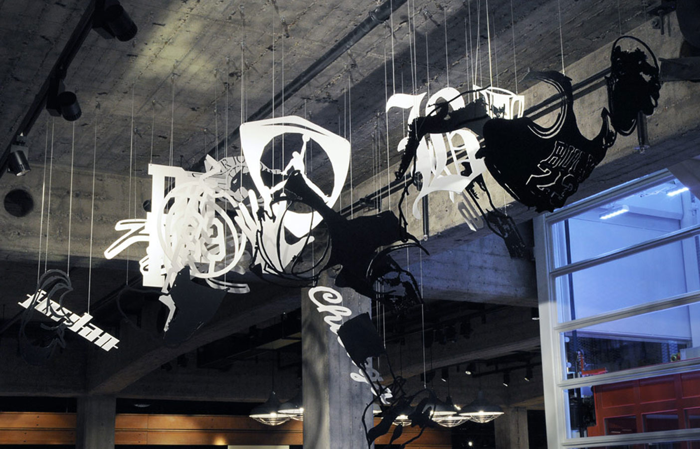 Aldworth James & Bond | Nike Store Berlin - suspended artwork by Michael Murphy