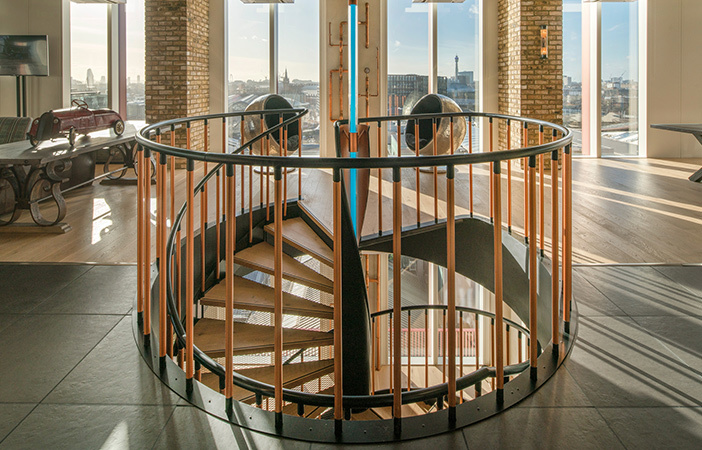 Aldworth James & Bond | XTX Markets — Spiral staircase from the 9th floor