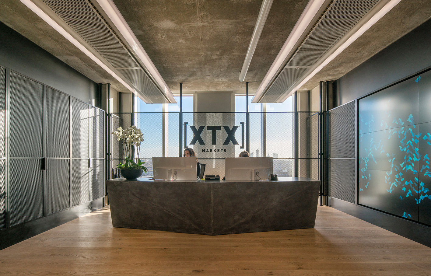 Aldworth James & Bond | XTX Markets — Reception desk and feature wall by AJ&B
