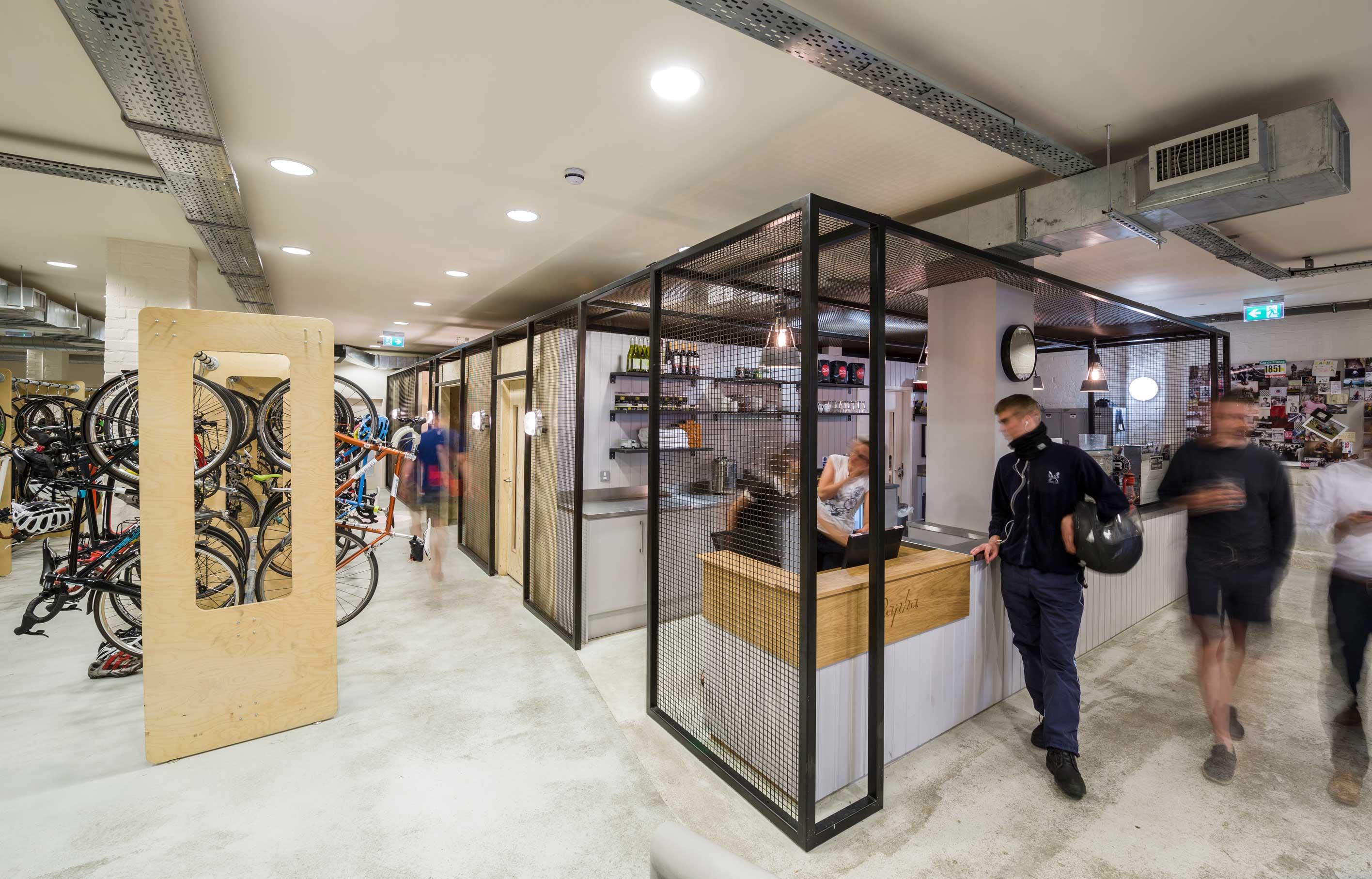 Aldworth James u0026 Bond   Bike storage and cafe for Rapha & Aldworth James u0026 Bond   London Office