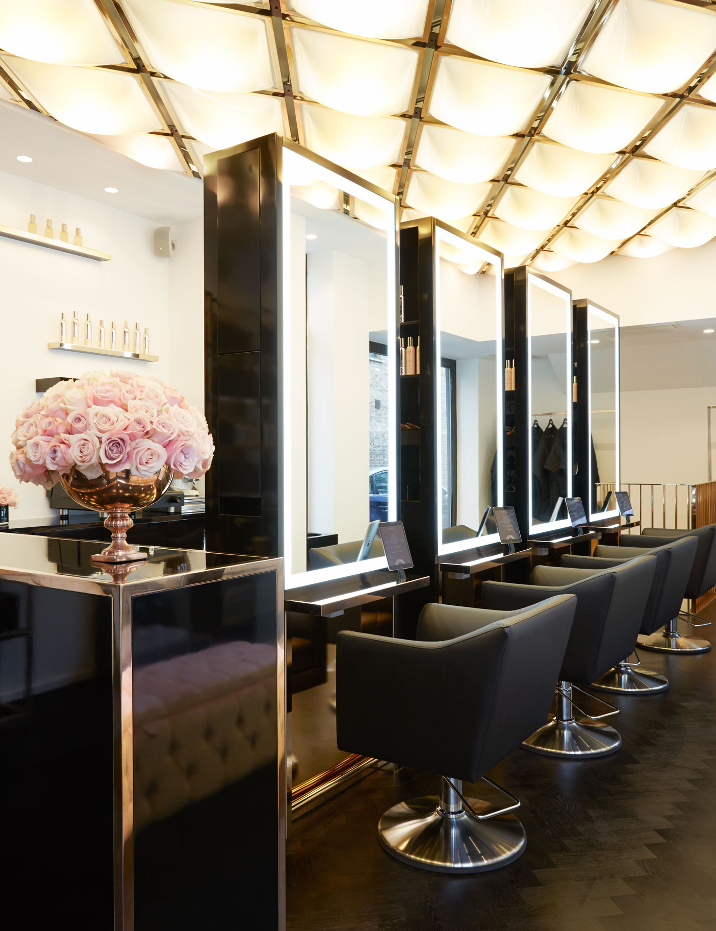 Aldworth James & Bond | Flagship SHOWDry Salon - styling stations and feature ceiling