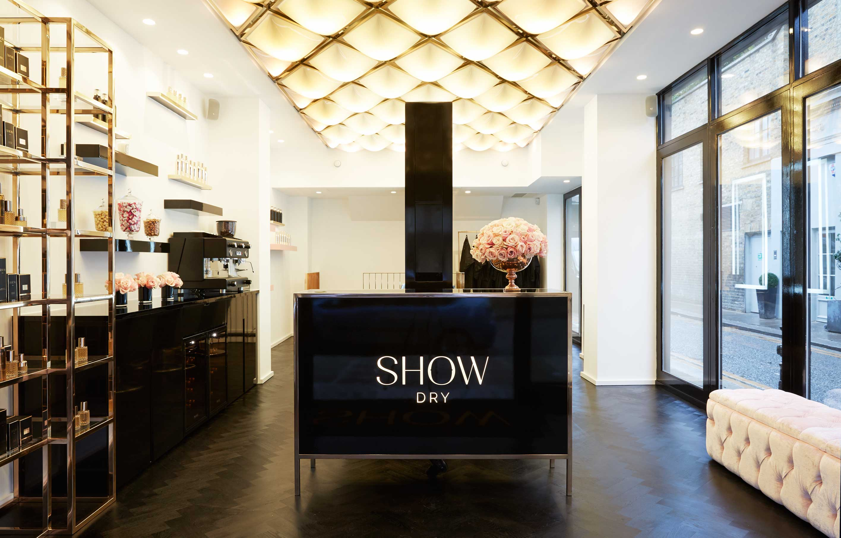 Aldworth James & Bond | Flagship SHOWDry Salon - reception furniture and feature ceiling