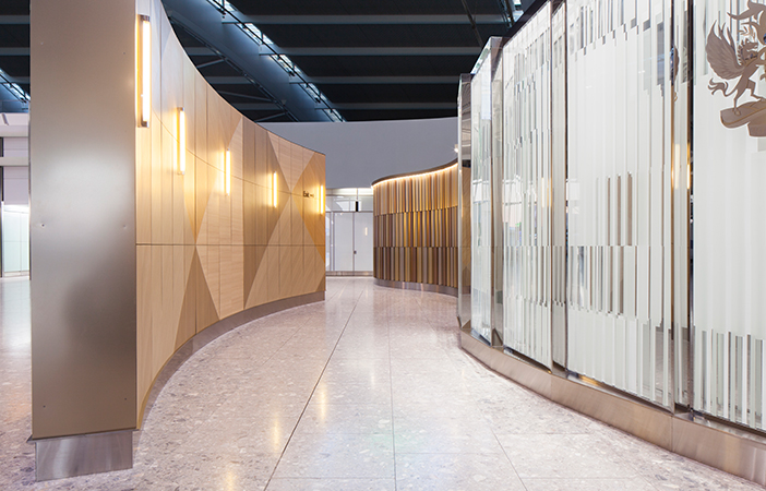 Aldworth James & Bond | Feature Walls - Heathrow T5 | Universal Design Studio | Lounge entrance to dedicated security and check in