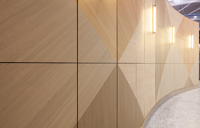 Aldworth James & Bond | Feature Walls - Heathrow T5 | Universal Design Studio | Specialist wood veneer panels