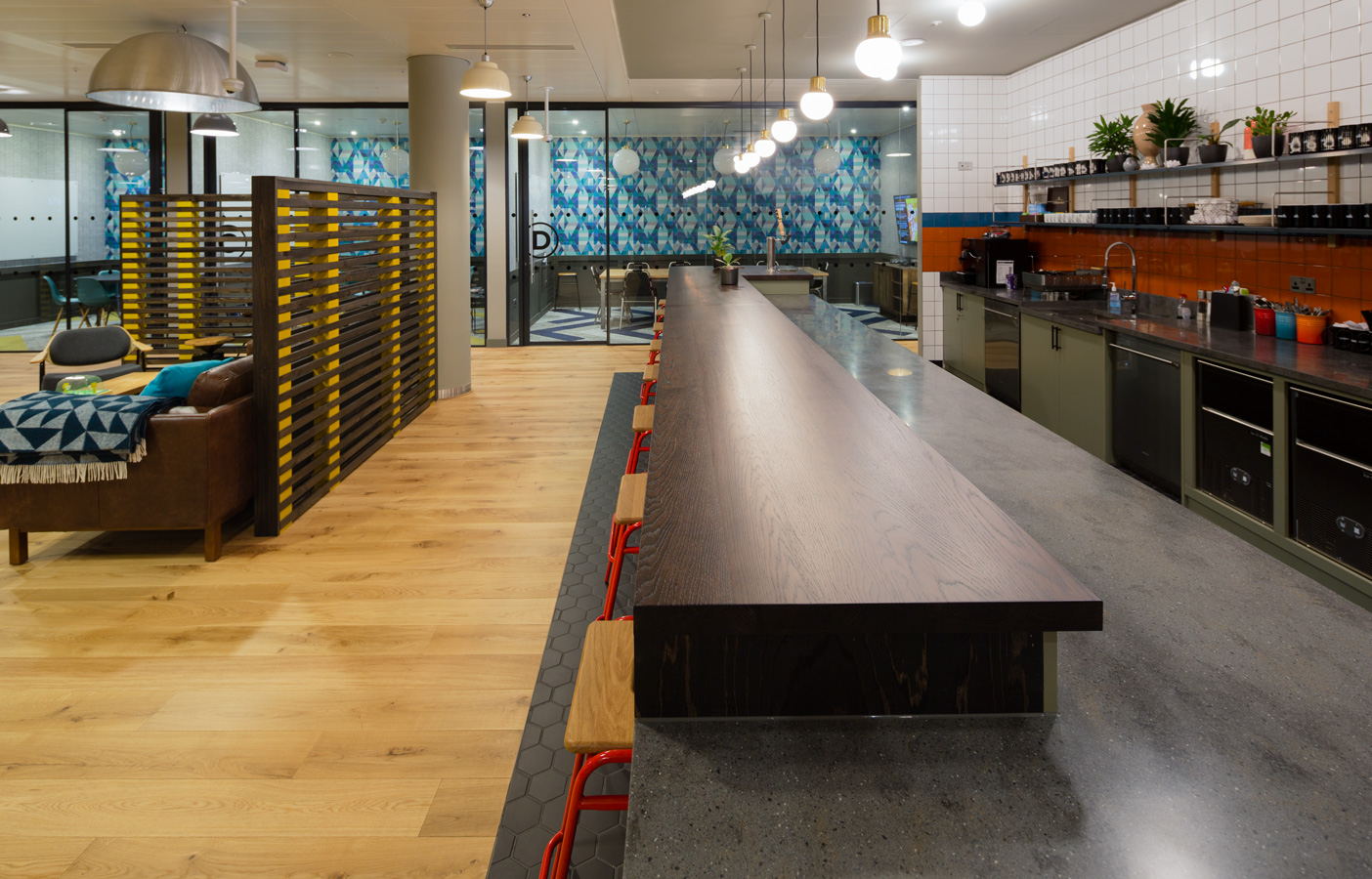 Aldworth James & Bond | WeWork Moorgate kitchen pantry and slatted screens