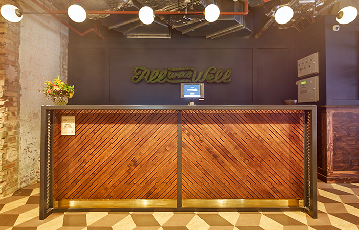 Aldworth James & Bond | WeWork Waterhouse Square - metal and timber for a custom reception desk