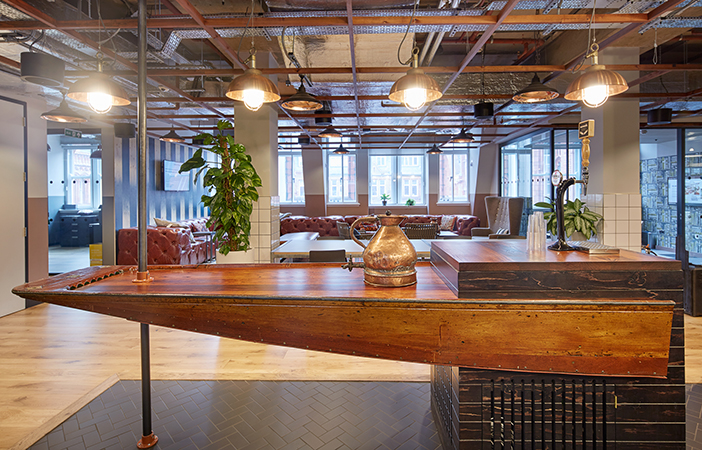 Aldworth James & Bond | WeWork Waterhouse Square - custom boat bar by AJ&B