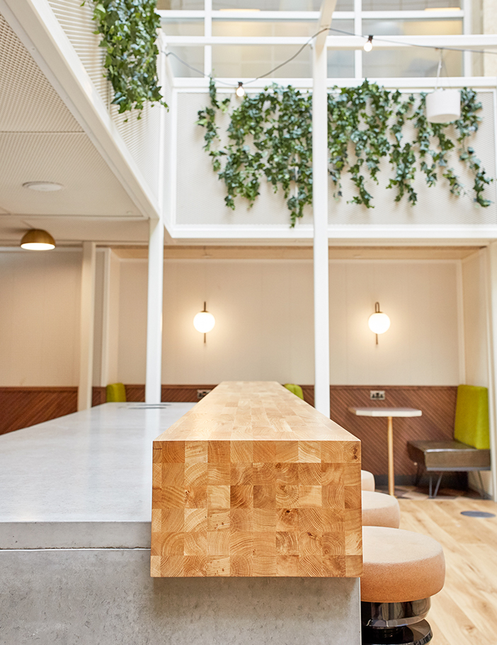 Aldworth James & Bond | WeWork Waterhouse Square - solid timber + concrete worktop in Community Bar