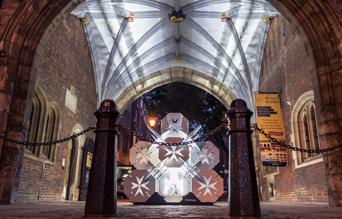 Order by Aldworth James & Bond | Clerkenwell Design Week | 'Order' at night, illuminated in St John's Gate